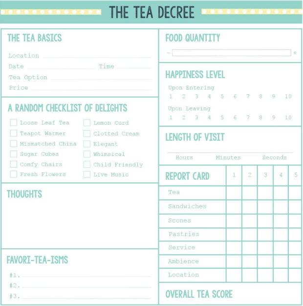Tea Decree Form - Blank Form